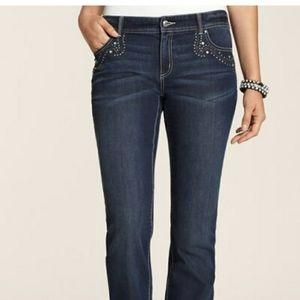 GUC Chico's Platinum Denim Bling Boot cut Jeans